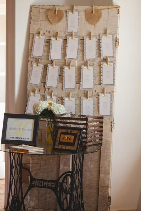 Our vintage sewing machine table with glass top makes a beautiful guest book tab...