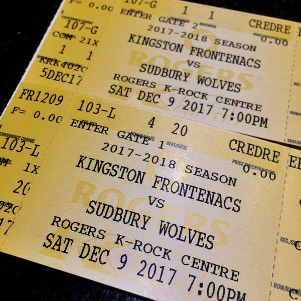 Hi!  ...it's time to share my Kingston Frontenacs season tickets again :)  This ...