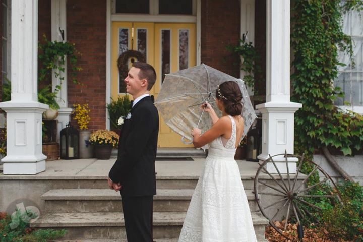 waiting to see his soon to be wife but the umbrella wouldn't work... the excitem...